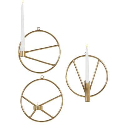 Gold Stainless Steel Modern Candle Wall Sconce (Set of 3)