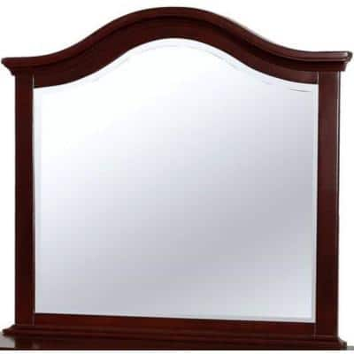 Small Rectangle Dark Walnut Beveled Glass Classic Mirror (2 in. H x 38 in. W)