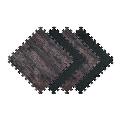 Reversible Dark Walnut/Black Faux Wood 24 in. x 24 in. x 0.47 in. Foam Mats (4-Pack)