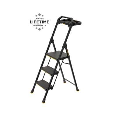 3-Step Pro-Grade Steel Project Ladder, 300 lbs. Load Capacity Type IA Duty Rating