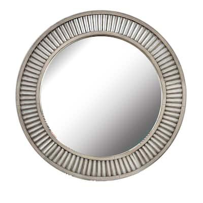 Medium Round Antique Gray Antiqued Classic Mirror (36 in. H x 36 in. W)