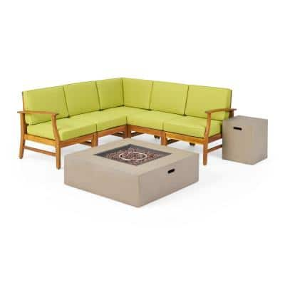 Illona Teak Brown 7-Piece Wood Patio Fire Pit Sectional Seating Set with Green Cushions