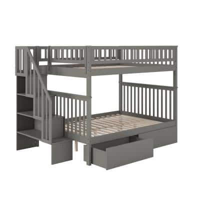 Woodland Staircase Bunk Bed Full over Full with 2 Urban Bed Drawers in Grey
