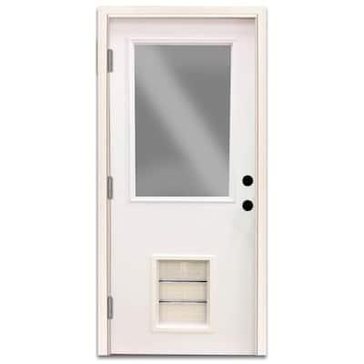 Premium Half Lite White Primed Steel Back Door 30 in. Right Hand Outswing with Extra Large Pet Door