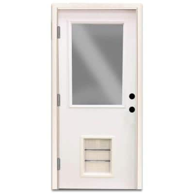 Premium Half Lite White Primed Steel Back Door 32 in. Right Hand Outswing with Extra Large Pet Door