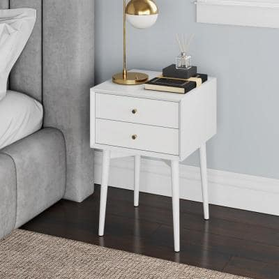 Harper White Nightstand with 2-Drawer Wooden Side Table or End Table