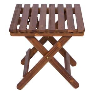 19 in. Tall Oak HYDRO-TEX Finish Cedar Wood Square Adirondack Outdoor Folding Side Table