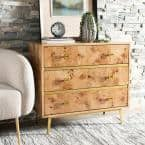 Katia 3-Drawer Natural/Gold Chest