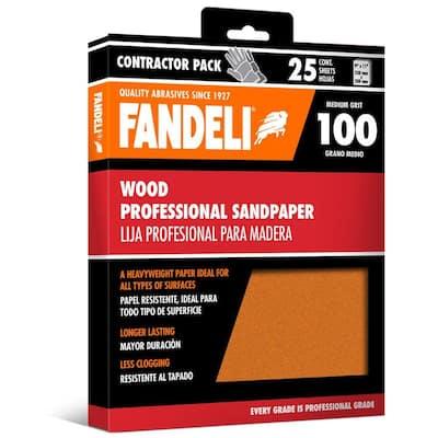 9 in. x 11 in. 100 Grit Medium Aluminum Oxide Sandpaper (25-Pack)
