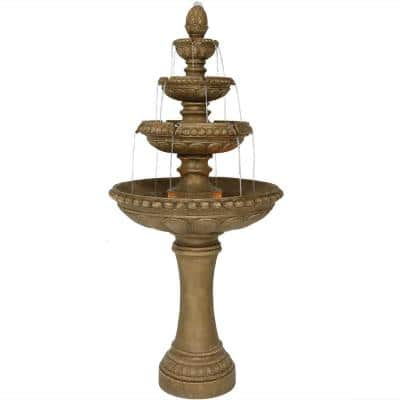 65 in. 4-Tier Eggshell Outdoor Water Fountain with LED Lights