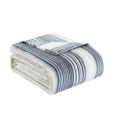 Sandy Shores 1-Piece Gray Striped Plush Microfiber King Blanket