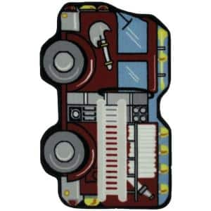 Fun Time Shape Fire Engine Multi Colored 2 ft. x 3 ft. Area Rug