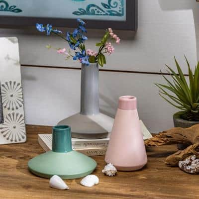 Assorted White, Green and Pink Ceramic Vases (Set of 3)