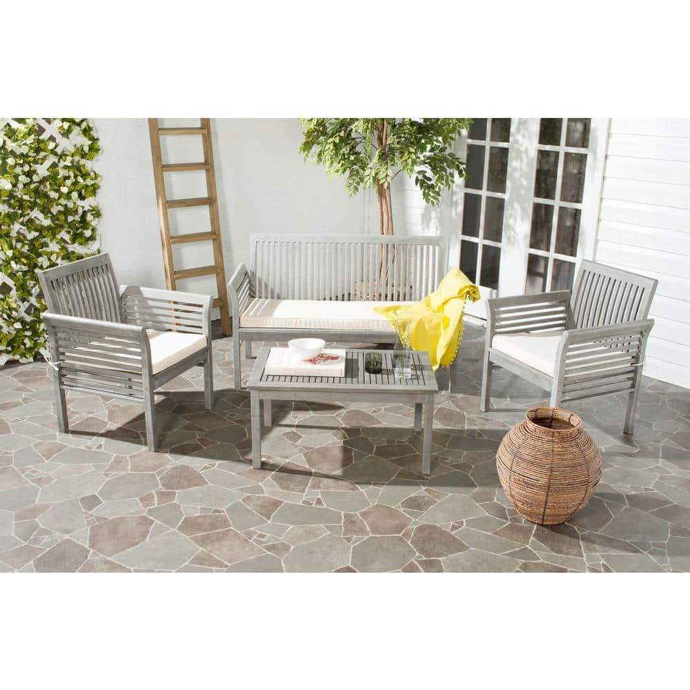 Safavieh Carson Grey Wash 4 Piece Wood, Safavieh Outdoor Furniture Gray