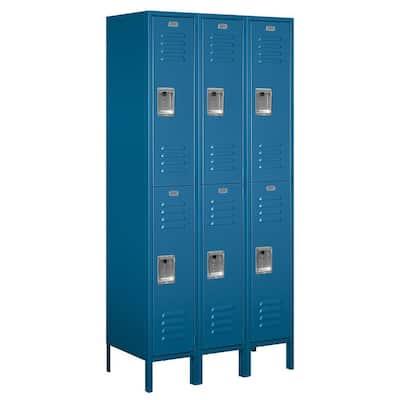 62000 Series 36 in. W x 78 in. H x 18 in. D 2-Tier Metal Locker Assembled in Blue