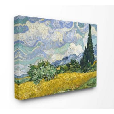 """24 in. x 30 in. """"Van Gogh Wheat Field with Cypresses Post Impressionist Painting"""" by Vincent Van Gogh Canvas Wall Art"""
