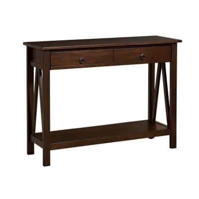 Titian 43 in. Antique Tobacco Standard Rectangle Wood Console Table with Drawers