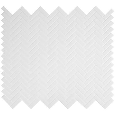 Retro Bianco Herringbone 12.2 in. x 10.83 in. x 6mm Glossy Porcelain Mesh-Mounted Mosaic Tile (13.8 sq. ft. / case)