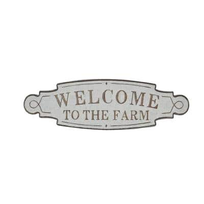 Oval Metal Welcome to the Farm Farmhouse Wall Decor Sign, 36 in. x 11 in.