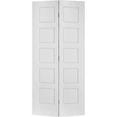 36 in. x 80 in. Riverside 5-Panel Primed White Hollow-Core Smooth Composite Bi-fold Interior Door