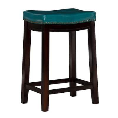 Claridge 26 in. Blue Cushioned Counter Stool