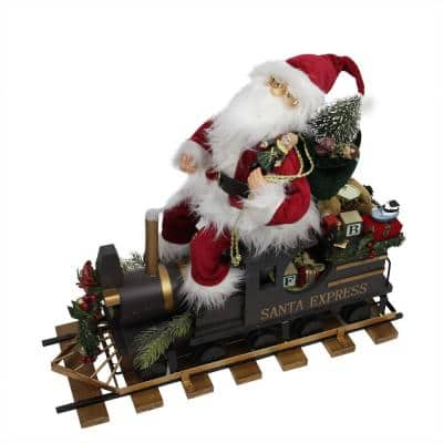 22 in. Statuesque Santa Express Train Christmas Figure on Wooden Railroad Track Base