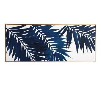 Blue Palms Floating Canvas Nature Tropical Art Print 19 in. x 45 in.