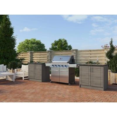Sanibel Whitewash 16-Piece 73.25 in. x 34.5 in. x 25.5 in. Outdoor Kitchen Cabinet Island Set