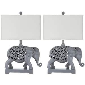 Hathi 25.5 in. Light Grey Elephant Table Lamp with Cream Shade (Set of 2)