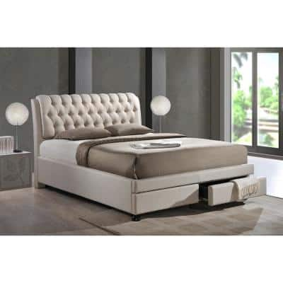 Ainge Transitional Beige Fabric Upholstered King Size Bed