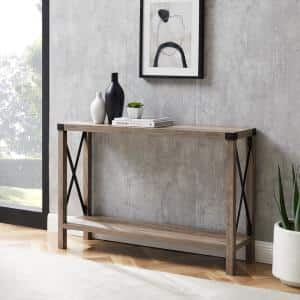 Industrial 46 in. Gray Wash Standard Rectangle Wood Console Table with Storage