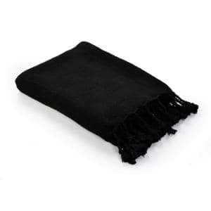 Woven Jet Black 50 in. x 60 in. Solid Checkered Cotton Fringe Throw Blanket