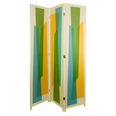 "kieragrace Austin Vance Room Divider – White with Multicolored Abstract Pattern, 47"" by 71"", Three Panel"