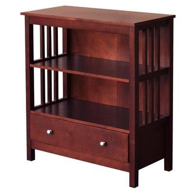 33 in. Chestnut Wood 2-shelf Standard Bookcase with Adjustable Shelves