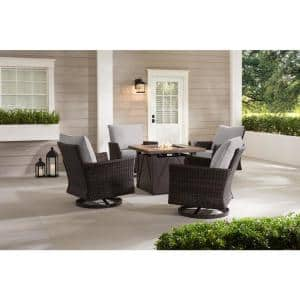 Lakeline 5-Piece Brown Metal Outdoor Patio Fire Pit Swivel Seating Set with CushionGuard Stone Gray Cushions