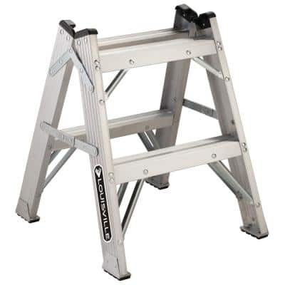 2 ft. Aluminum Twin Front Step Stool with 375 lbs. Load Capacity Type IAA Duty Rating