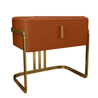 1-Drawer Orange PU Nightstand with Stainless Steel Legs (19.69 in. x 15.75 in. x 19.69 in.)