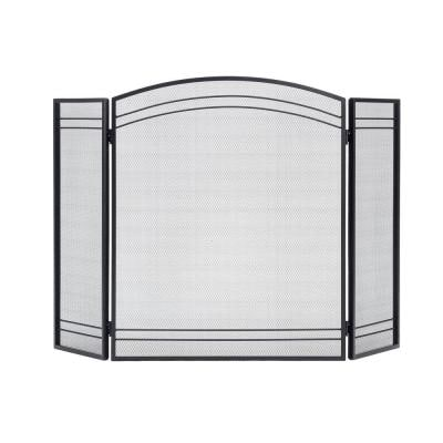 2 ft. H x 4 ft. W Classic Fireplace Screen in Black with Steel Construction and 3-Panel Adjustable-Hinge Design