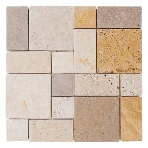 Brick Medley Beige 11.875 in. x 11.875 in. Honed Travertine Wall and Floor Mosaic Tile (0.979 sq. ft./Each)