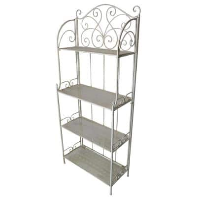 28 in. x 13 in. Metal Antique Cream Foldable 4-Level Bakers Rack