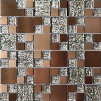 Copper Luxe 11.81 in. x 11.81 in. Modular Joint Brushed Metal & Glass Mosaic Wall Tile (0.97 sq. ft./Ea)