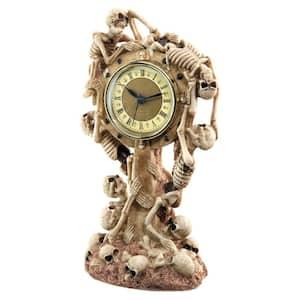 11 in. x 6 in. Skeleton Crew Sculptural Mantle Clock