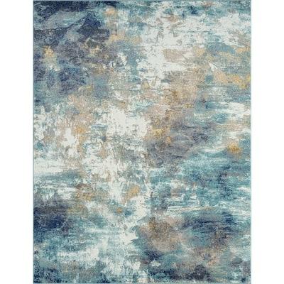 Detroit Aqua 7 ft. x 10 ft. Abstract Polypropylene Area Rug