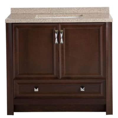 Candlesby 37 in. W x 19 in. D Bathroom Vanity in Cognac with Solid Surface Vanity Top in Autumn with White Sink