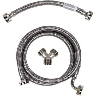 Braided Stainless Steel Steam Dryer Installation Kit with Elbow (24-Pack)