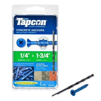 1/4 in. x 1-3/4 in. Phillips-Flat-Head Concrete Anchors (75-Pack)