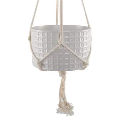 5 in. Matte White Gladiator Ceramic Pot with Macrame Hanging Planter