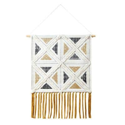Dynamic Diamond 21.5 in. x 35 in. Ivory/Black/Yellow Textured Geometric Woven Wall Hanging