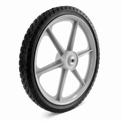 16X1.75 Plastic Spoke Semi-Pneumatic Wheel 1/2 in. Ball Bearing 2-3/8 in. Centered Hub Diamond Tread