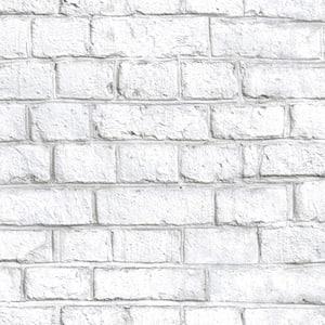 White Brick Vinyl Peel & Stick Wallpaper Roll (Covers 28.18 Sq. Ft.)